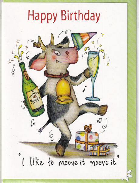 Happy Birthday I Like To Moove It Cow Birthday Card - The Compost Heap