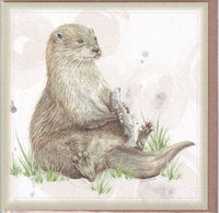 River Otter Greetings Card - Sally Anson