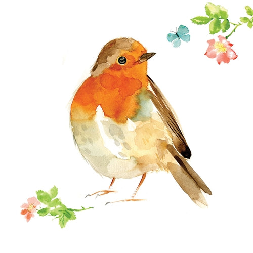 Robin Bird Watercolour Greetings Card - Louise Nisbet