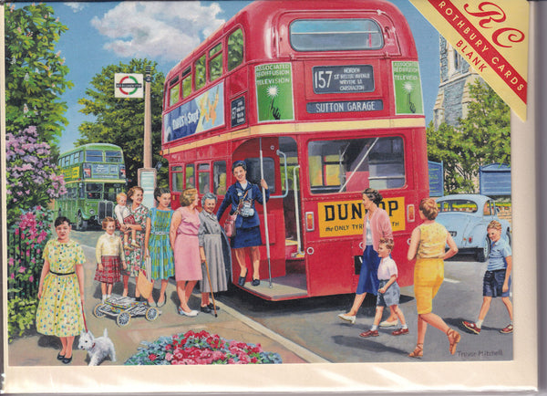 Routemaster Bus Conductress Greetings Card - Trevor Mitchell