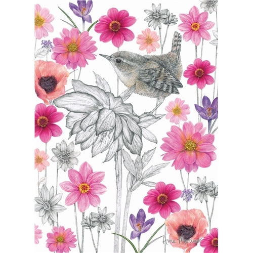 Wonderful Wren Bird Greetings Card - Anne Mortimer