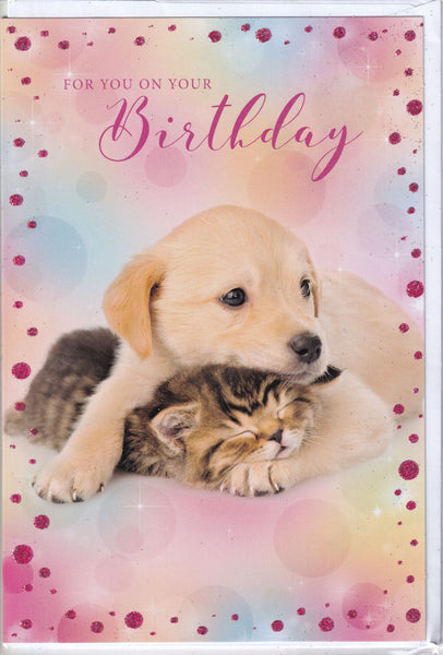 Cute Pup And Kitten Glitter Birthday Card