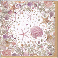 Sea Shells And Starfish Glitter Greetings Card - Nigel Quiney