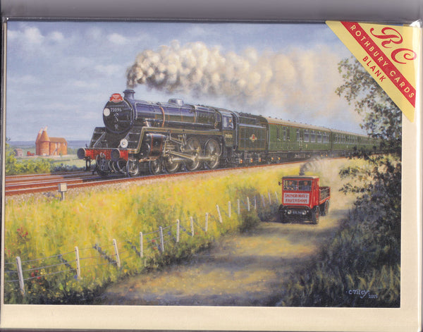 Sentinel Lorry Vs The Brew Steam Train Greetings Card - Craig Tilley