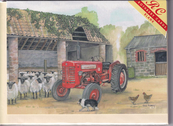 Sheep In The Farmyard Greetings Card - Sue Podbery