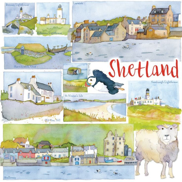 Shetland Scotland Watercolour Greetings Card - Emma Ball
