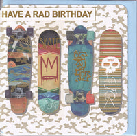 Skateboarding Have A Rad Birthday Card - Nigel Quiney