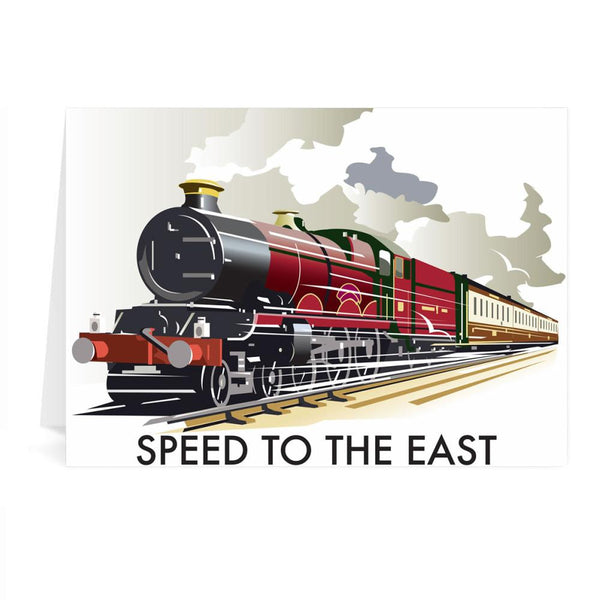 Steam Train Speed To The East Greetings Card