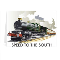 Steam Train Speed To The South Greetings Card