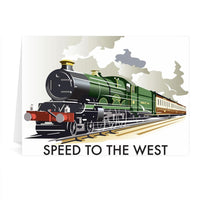 Steam Train Speed To The West Greetings Card