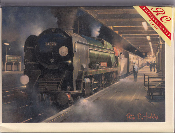 Steam Train At Bournemouth At Night Greetings Card - Philip Hawkins