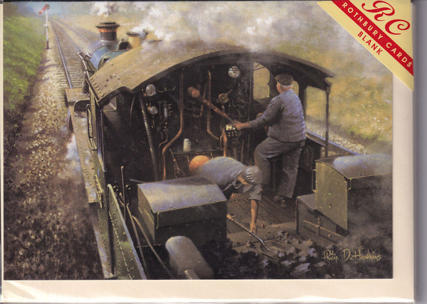 Steam Train Footplate Greetings Card - Philip Hawkins