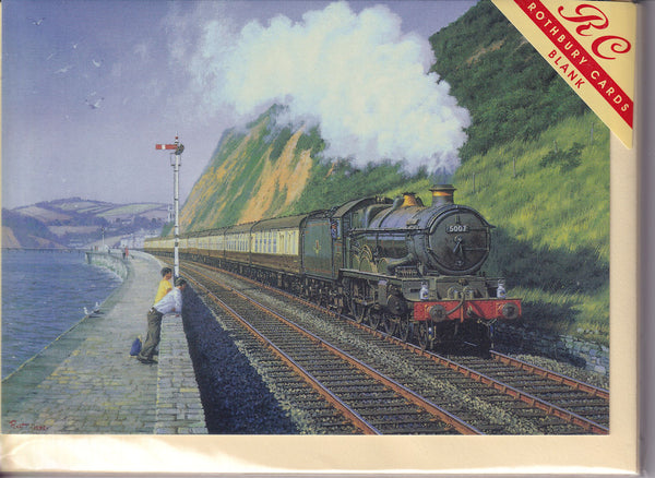 Steam Train Skirting The Sea Wall Greetings Card - Malcolm Root