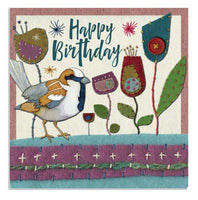 Stitched Birds House Sparrow Birthday Card - Emma Ball