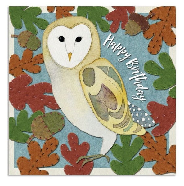 Stitched Owl Happy Birthday Card - Emma Ball