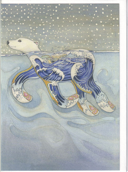 Swimming Polar Bear Greetings Card - Daniel Mackie