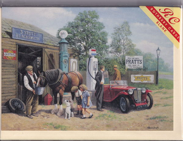 Taking On Fuel Vintage Car And Horse Greetings Card - Kevin Walsh
