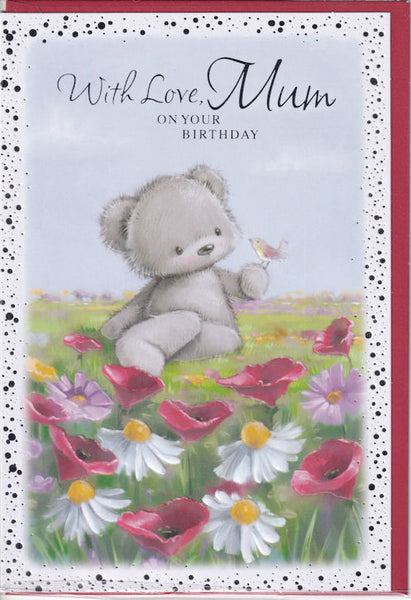 Teddy Bear With Love Mum On Your Birthday Card
