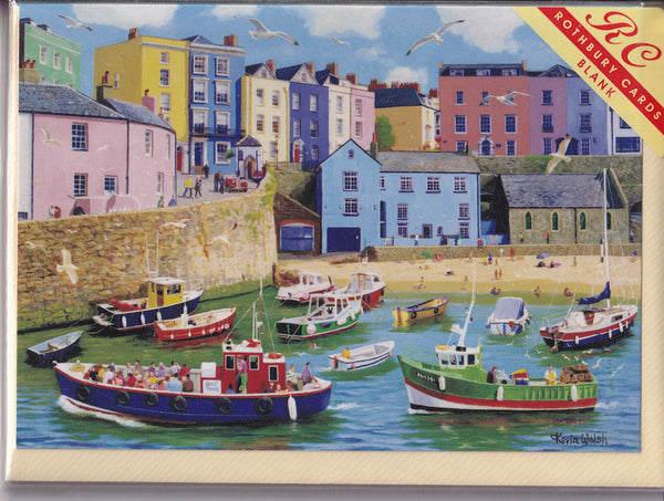 Tenby Harbour Wales Greetings Card - Kevin Walsh