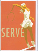 Tennis Serve Greetings Card - Dave Thompson