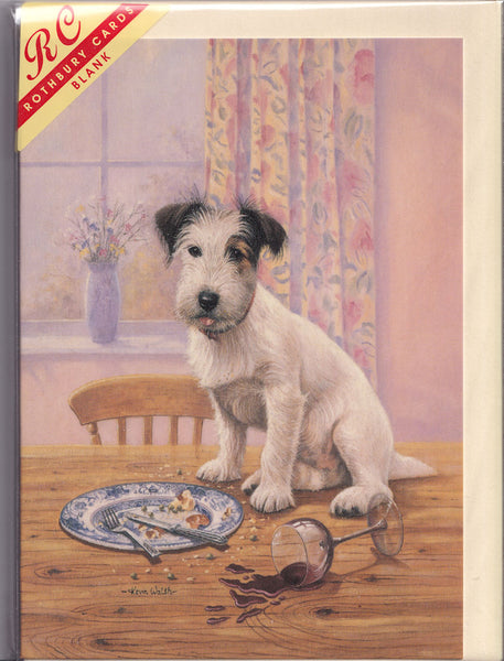 Terrier Dog Who's A Naughty Boy Then? Greetings Card - Kevin Walsh