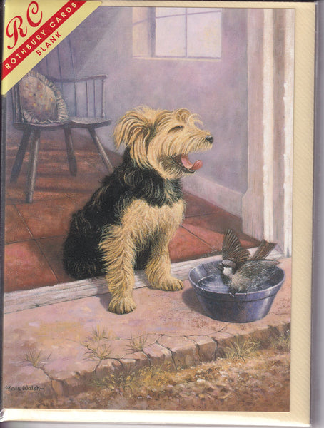 Terrier Dog With Bathing Bird Greetings Card - Kevin Walsh