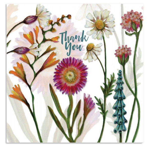 Thankyou Flowers Greetings Card - Caroline Cleave