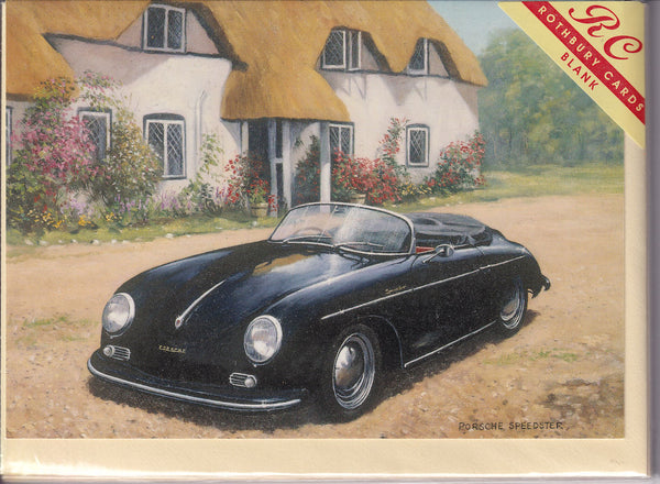 The Black Porsche Vintage Car Greetings Card - Kevin Walsh