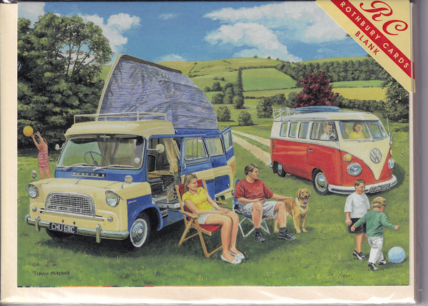 The Campervan Campsite Greetings Card - Trevor Mitchell