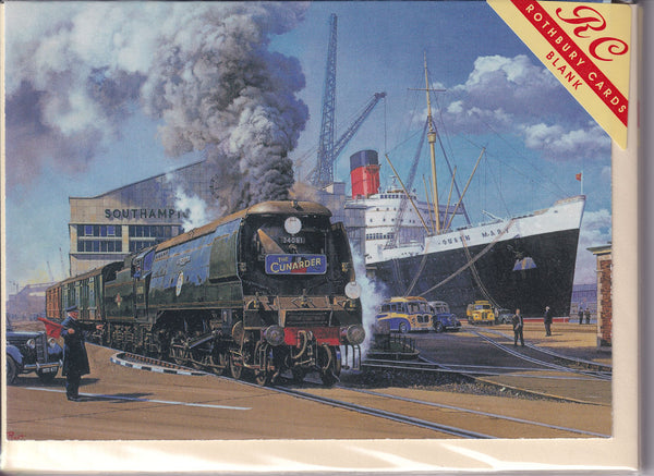 The Cunarder Boat Train Greetings Card - Malcolm Root