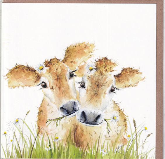 The Daisy Cows Watercolour Greetings Card - Sarah Reilly
