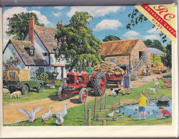 The Farm Day's Work Greetings Card - Trevor Mitchell