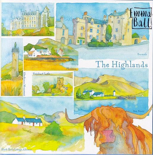 The Highlands Of Scotland Watercolour Greetings Card - Emma Ball