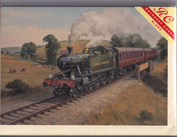 The Quantock Belle Steam Train Greetings Card - Robin Pinnock