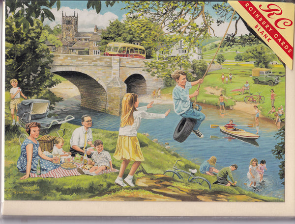 The Riverbank Picnic Greetings Card - Trevor Mitchell
