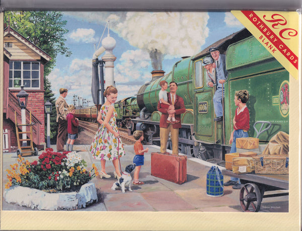 The Steam Train Engine Driver Greetings Card - Trevor Mitchell