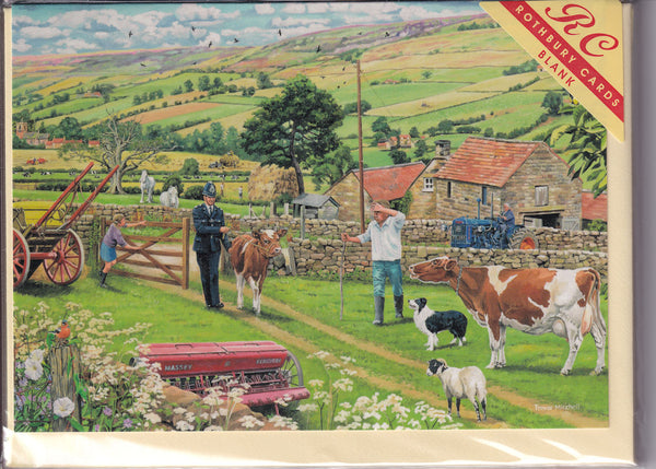 The Stray Calf Greetings Card - Trevor Mitchell