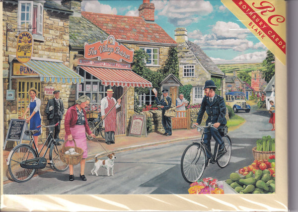 The Village High Street Greetings Card - Trevor Mitchell