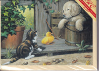 Three Buddies Cat Dog Duckling Greetings Card - Kevin Walsh