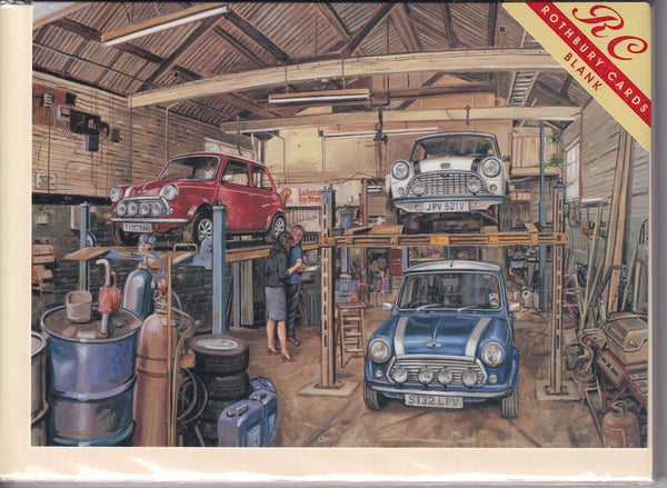 Three Mini Cars In A Garage Greetings Card - Steven Binks