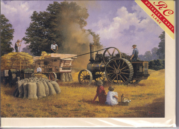 Threshing With A Fowler Greetings Card - Malcolm Root