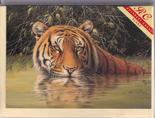 Tiger Greetings Card - David J. Lawrence