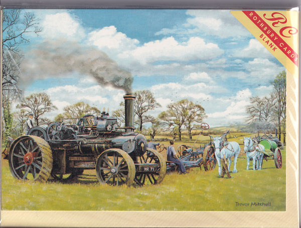 Traction Steam Engine Ploughing Greetings Card - Trevor Mitchell