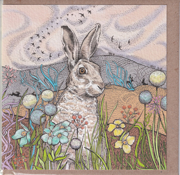 Hares In The Fields Greetings Card - Fay Miladowska