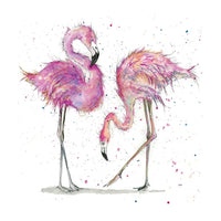 Two Flamingo Birds Pencil Collection Greetings Card - Sarah Boddy