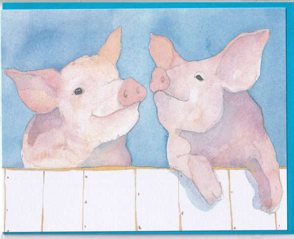 Two Pigs Greetings Card - Emma Ball