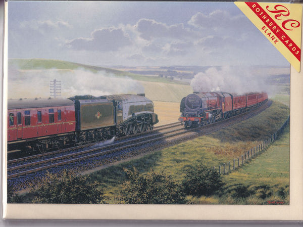 Two Steam Trains Passing Greetings Card - Malcolm Root