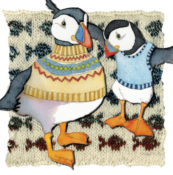 Two Woolly Puffins Greetings Card - Emma Ball