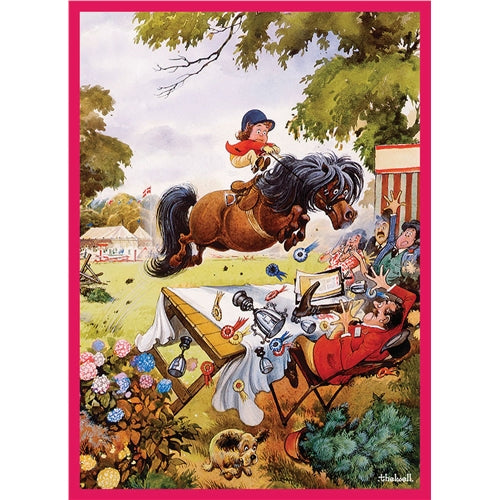 Up For The Cup Greetings Card - Thelwell horses