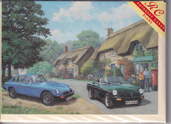 Vintage MG Sports Cars Rubber Greetings Card - Kevin Walsh